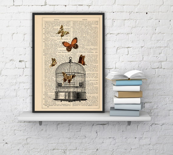 Release the Butterflies n04 Cage collage Print on Vintage Dictionary  page - book art print BFL017