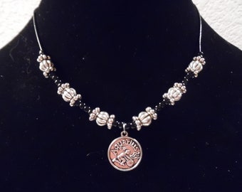 Silver and Black Beaded Necklace on Leather Cord with Charm