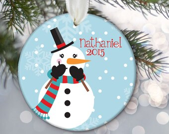 Snowman Christmas Ornament Personalized Christmas Gift Christmas Keepsake Snowman Ornament Custom Ornament Snowman Holiday Gift OR242