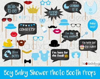 Boy baby shower photo booth props. Printable. DIY baby shower bubble speech. Instant download. PDF Digital file. High resolution.
