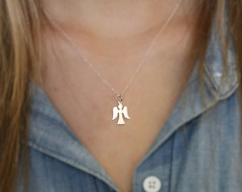Tiny Angel Necklace - Guardian Angel Necklace - Sterling Silver Angel Charm - Confirmation Gift - Baptism Gift - First Communion Gift