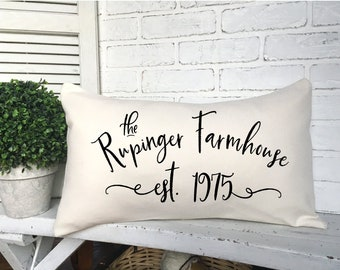 PERSONALIZED FARMHOUSE PILLOW,Farm Living,Farm Decorating,Housewarming Gift,New Farmhouse Pillow