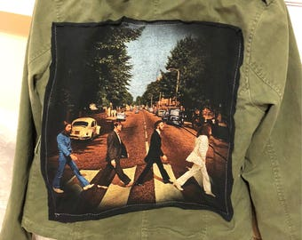 UPCYCLED Military style jacket with Beatles patch, Womens Size XL