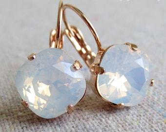 Swarovski White Opal Cushion Cut Square Crystal Rose Gold Bridal Statement Dangling Leverback Bridal Earrings Bridesmaids Gifts