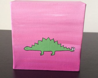 """Stegosaurus 4""""x4"""" acrylic painting on canvas, green dinosaur over a pink and purple background"""