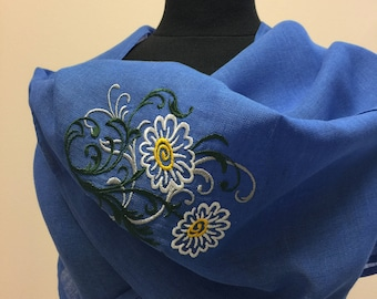 Linen Scarf Embroidered Scraf Women Accessory Scarve Blue