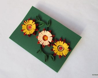 Green Blank Birthday Card, Autumn Quilled Paper Thanksgiving Card, Father's day gift