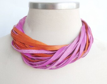 Colorful Leather Necklace, Statement Necklace in Pink and Orange,Leather Jewelry for Women, Multi Strand Leather Bib Necklace