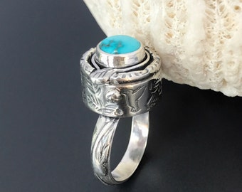 Turquoise Ring, Hummingbird Artisan Hollow Form Sterling Silver, Hand Stamped Leaves, Size 7 1/4 Unique Silversmith Design