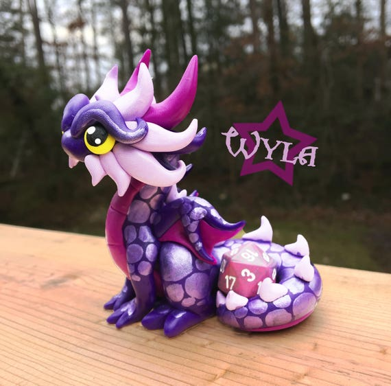 Polymer Dragon Dice Holder- Royal Purple, Fuchsia, and Lavender Dragonling: Wyla