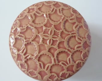 Handmade Carved Pink Flowers and Ginko Leaves Lidded Jewelry Box
