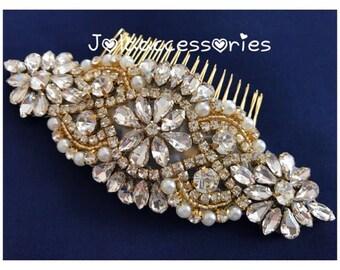 gold bridal crystal pearl hair comb hair jewelry yellow gold wedding hair piece bridesmaid comb hair piece bridal jewelry rhinestone comb