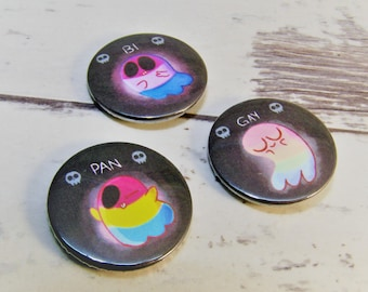 Bisexual, Gay, Pansexual Ghost Pin Button Badges. Ideal LGBT gay rainbow pride badges for Gay Pride, Bisexual Pride and Pansexual Pride