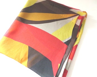 Vintage 1970's red, yellow and cream geometric pattern scarf