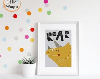 Popular boys bedroom dinosaur art print, colourful boys decor, colorful boys decor, dinosaur poster, dinosaur bedroom decor, dinosaur Print