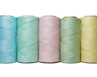 Waxed Polyester Cord, Macrame Thread, Linhasita Waxed Thread, Set of 5 Colors - 10 meters each color, Jewelry String, Macrame Cord - Pastel