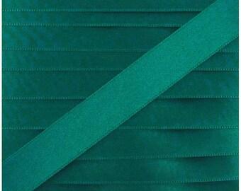 Satin ribbon / green duck / width 10mm, 50cm cut