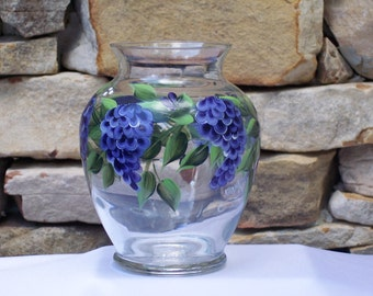 Hand Painted Glass Vase with Purple Wisteria