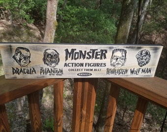 Monster Action Figures Remco Sign Carved in Wood | Dracula | Frankenstein | Phantom of the Opera | Wolf man | Vintage Style
