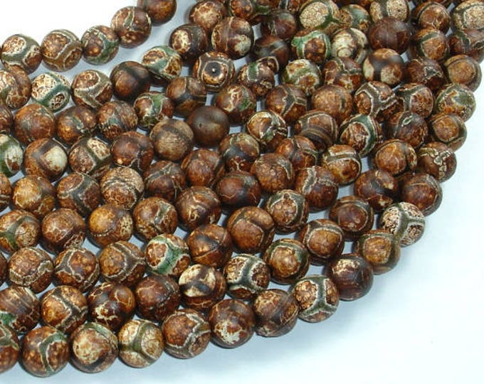Crackle Tibetan Agate, 8mm Round Beads, 15 Inch, Full strand, Approx 48 beads, Hole 1.2mm (122054269)