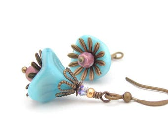 Blue Flower Earrings Aqua Blue Swarovski Crystal Petite Dangle