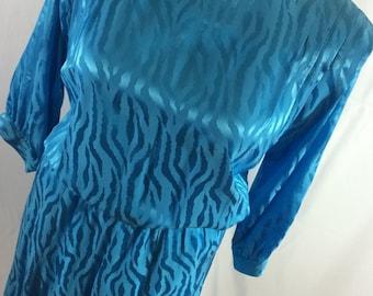 Vintage Argenti Plus Size Ladies Sky Blue Silk Dress w Zebra Embossed