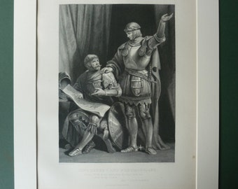 Original 1883 Henry V Matted Print - Antique - William Shakespeare - Shakespearean - Theatre - Victorian - Black & White