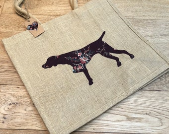 Luxury jute shopping bag featuring a German Shorthaired Pointer dog design, the perfect gift for GSP owners and dog lovers alike