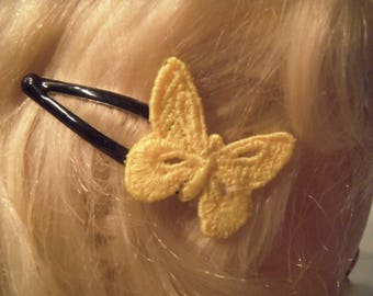 2 pins with neon yellow lace Butterfly