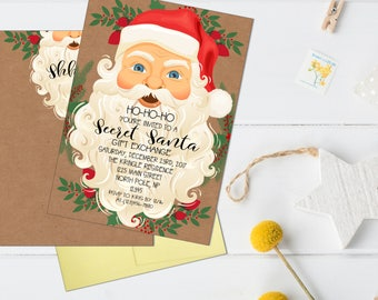 secret santa invitation, secret santa party invitation, christmas party invitation, gift exchange party, christmas party, holiday party