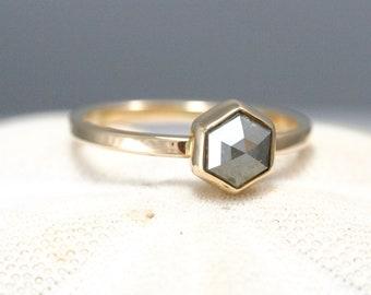 Hexagon Rose cut diamond ring, silver/grey diamond, geometric engagement ring, modern wedding ring,  Rachel Wilder Handmade Jewelery
