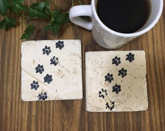 Puppy Paws - Natural Stone Coasters - Absorbent Coasters - Rustic Home Decor -  Decorative Tile -