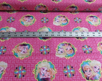 Disney - Frozen Elsa & Anna Framed - Sisters - Spirngs Creative - Cotton - Pink - Sold by the Yard