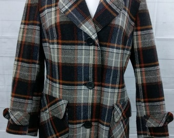 Vintage Wool Pea Coat. Women's. Brown Plaid Checked. Size 12 -14. Rounded Collar.