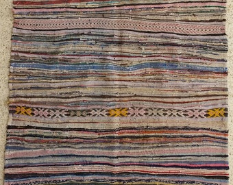 """86""""X75"""" Vintage Moroccan rug woven by hand from scraps of fabric / boucherouite / boucherouette"""