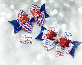 Fourth of July Bow, 4th of July Bow, Patriot Bow, Red White and Blue Bow, Flag Bow, Flag Hair Bow, Summer Bow, Summer Hair Bow, Blue Bow