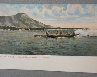 1907 ANTIQUE Surfing Postcard Hawaii Outrigger Canoe, Unused PMC, 'Surf Riding Hawaiian Canoe Waikiki, Honolulu' / RARE Surfing Memorabilia