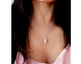 Australian opal gemstone pendant- Wire wrapped sterling silver opal pendant- Blue opal fashion pendant- Jewelry gemstone women necklace-gift