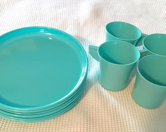 Vintage Turquoise Casualware by Jerywil plates and cups