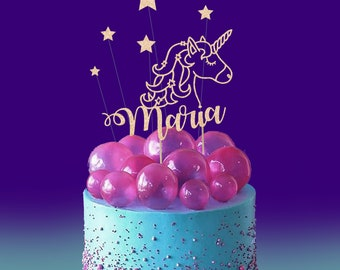 UNICORN Cake Topper with 5 stars Custom Name and stars. personalised all colours baby birthday magical horse unicorn party ideas
