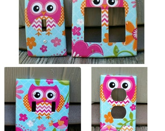 Owl Light Switch - Outlet Cover- Switch Plate Cover-Nursery Decor- Light switch cover- Woodland Nursery- Owl nursery