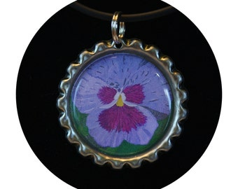 Pansy bottle cap, Pansy Charm Jewelry,pansy necklace,botanic necklace,floral necklace,gift for a woman,viola necklace,party favor, Item #PN1