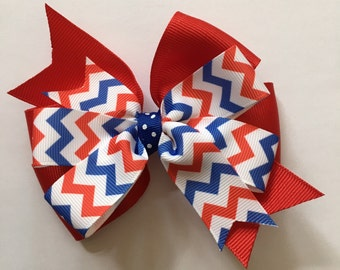 July 4th Hair Bow Fourth of July Hair Bow Red White and Blue Hair Bow Red White Blue Chevron Bow Patriotic Bow Nautical Bow 4th of July Bow