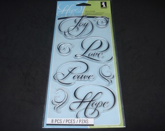 "Inkadinkado- Clear Stamp Set- 4"" x 8""- 8 piece set ""Calligraphy Expression"""