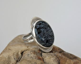 Dark Blue Pietersite and Sterling Silver Ring  Size 7 1/2  J-2258