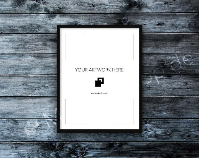 11x14 FRAME MOCKUP BLACK / Styled Photography Poster Mockup, old white wooden wall Background, Framed Art, Instant Download / Frame Mockup