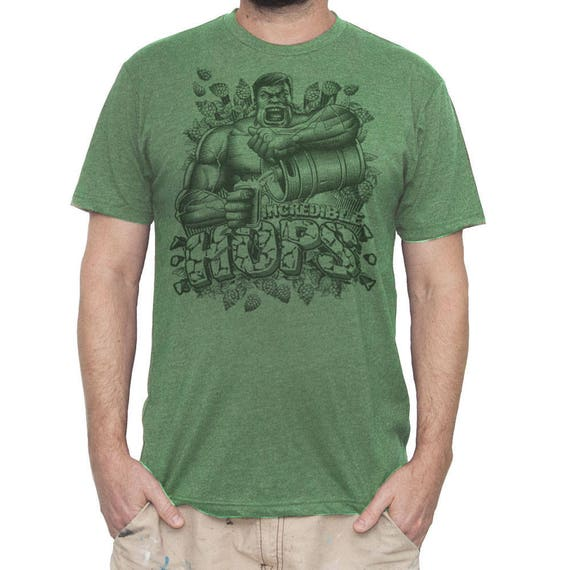Mens Saint Patricks Day Hulk T-shirt- Hulks Incredible Hops Beer Shirt- Bruce Banner Beer Shirt