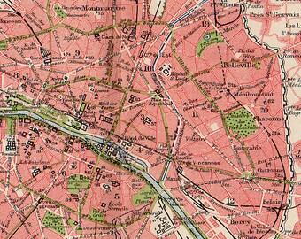 medium british map of paris france 1907 atlas antique map paris city map