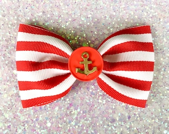 Retro Anchor Striped Hair Bow Clip - Red - Nautical - Rockabilly - Pinup