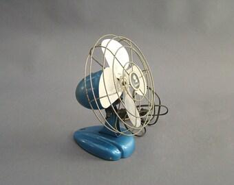 Vintage Art Deco Wire Cage Fan; Vintage Blue Fan; Coronado Fan; Vintage Fan; Industrial Decor; Cage Fan